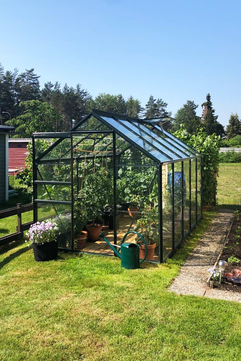 Emelies Bruka växthus på tomten i Nyköping